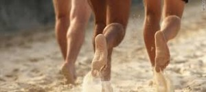 barefoot running in sand