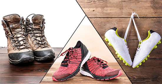 Running shoes for different surfaces